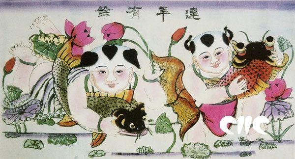 Китайский лубок с карпом: