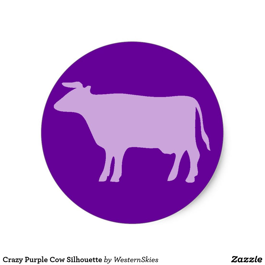 Crazy Purple Cow Silhouette Classic Round Sticker Zazzle Com Purple Cow Cow Round Stickers