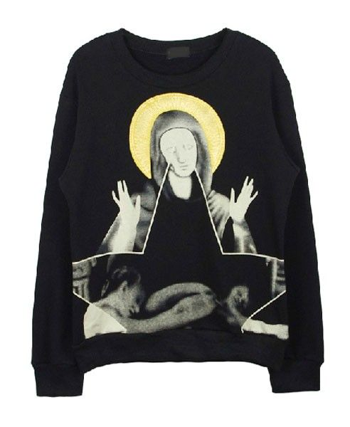 Black Loose Fit Top with the Virgin Mary Print
