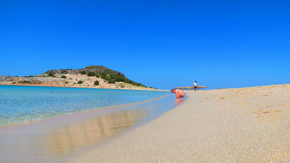 Greece peloponnese elafonisos baby on Simos beach