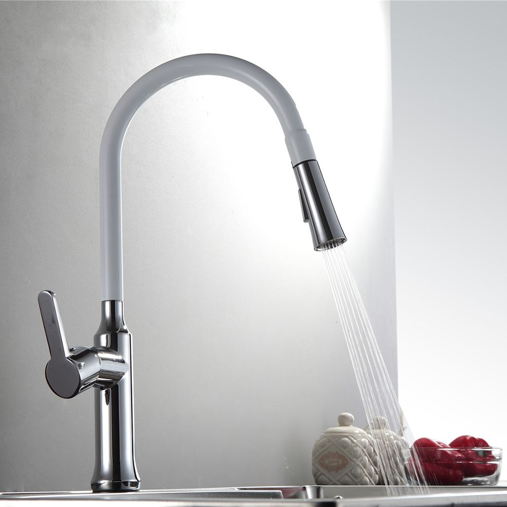 Reviews Single Handle Kitchen Faucet Mixer Pull Out White Painting ...
