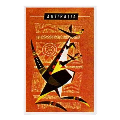 Australia Kangaroo ~ Vintage Travel Poster from Zazzle.com ($20-50) - Svpply