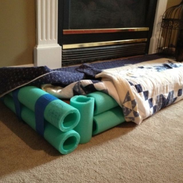 Baby proof your fireplace hearth for $4. Cut pool noodles to fit and tape together. Cover with quilt. The end.  http://excitementontheside.com/2012/07/24/saving-the-world-at-the-dollar-store/