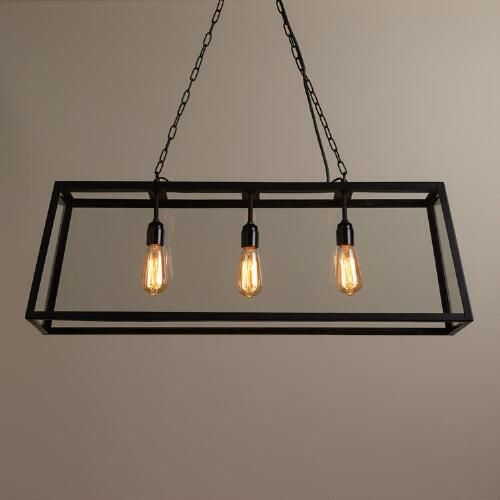 Rectangular 4 sided glass pendant lamp black by world market