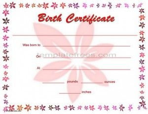 Printable Blank Birth Certificate Template For Word With Flower  Birth Certificate Template For Word