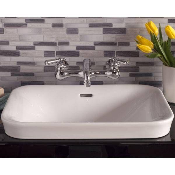 Porcelain Drop In Bathroom Sink No Faucet Drillings Drop In