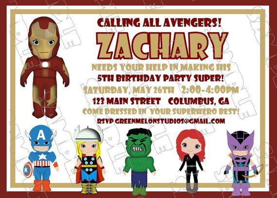 Avengers IronMan inspired birthday party printable invitations – Iron Man Birthday Card