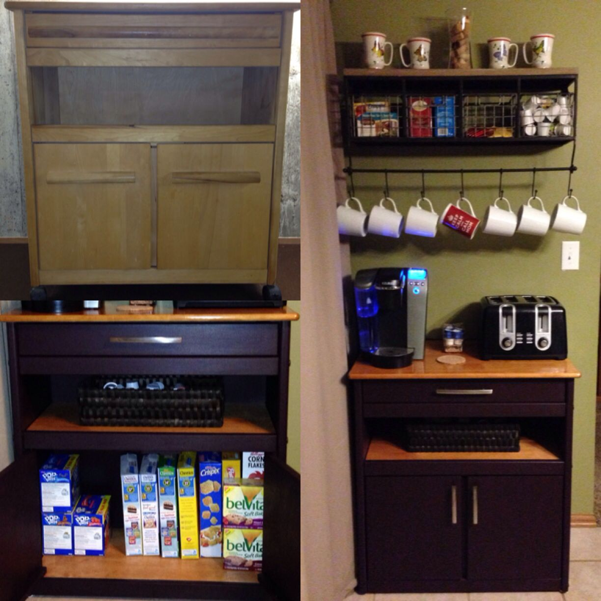 Coffee Breakfast Station Repurposed An Old Microwave Cart By