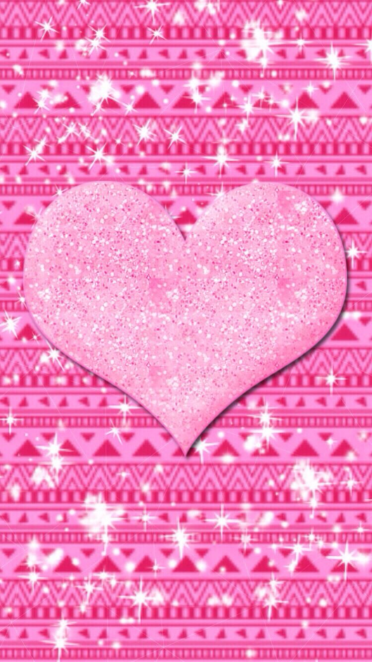 Pink Heart Aztec Made By Me Patterns Pink Glittery Art Cute