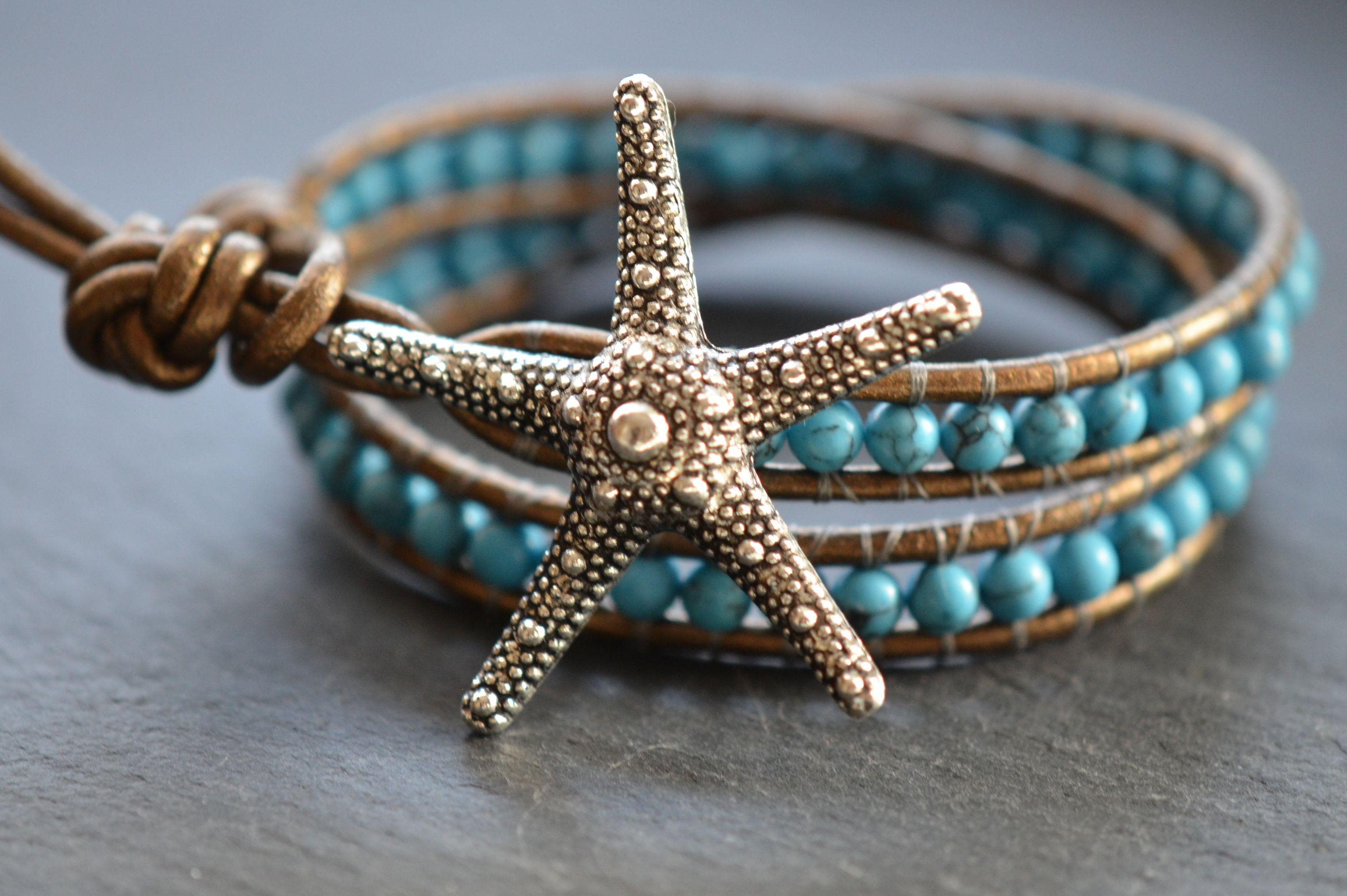 Silver Starfish Beaded Turquoise Leather Wrap Bracelet Gypsygreen
