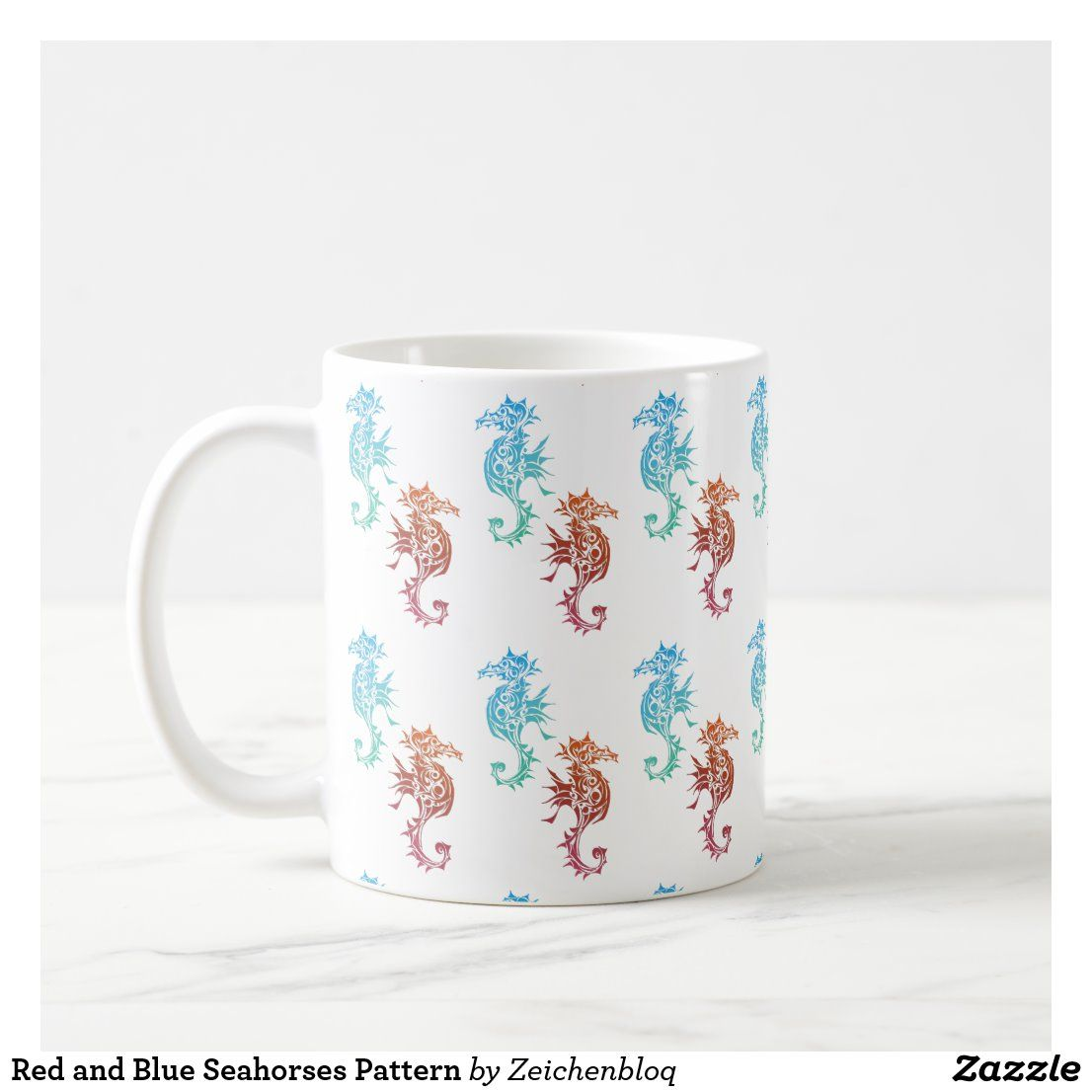 Photo of Red and Blue Seahorses Pattern Coffee Mug | Zazzle.com