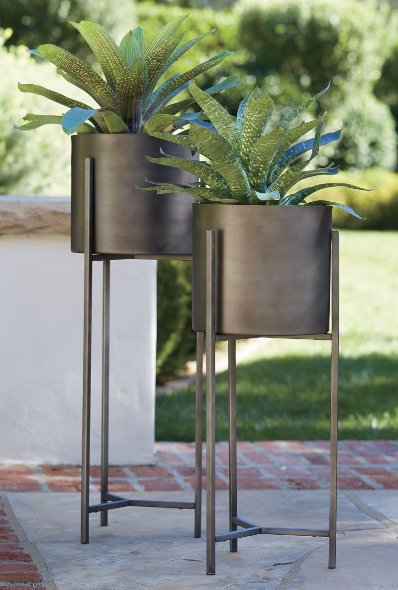 Dundee Bronze Floor Planters Crate And Barrel Tall Plant
