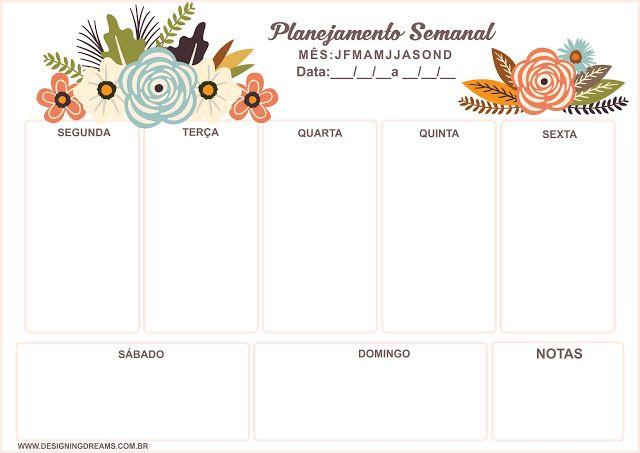 Planner Semanal Gr 225 Tis Para Baixar E Imprimir