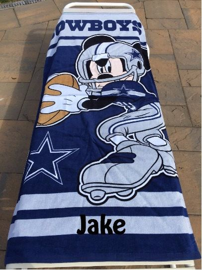 Mickey Mouse NFL Dallas COWBOYS Beach Towel Personalized by CACBaskets on  Etsy 8afa2658abdd