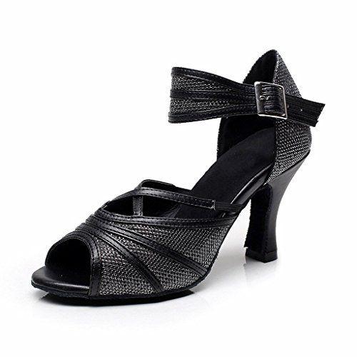 85c0019e8f7 BCLN Womens Open toe Sandals Latin Salsa Tango Heels Practice Ballroom Dance  Shoes with 31 HeelBlack