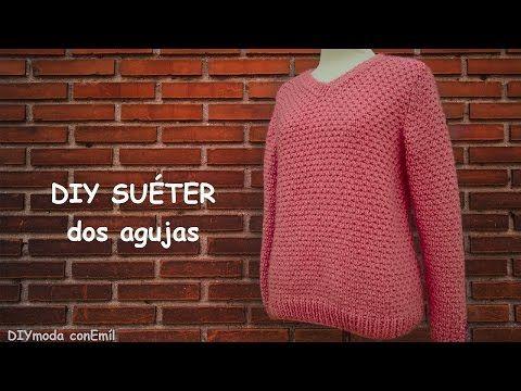 Suéter o jersey de mujer en dos agujas paso a paso - YouTube | elena ...