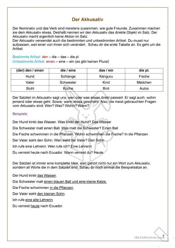 Der Akkusativ Erklärungen und Ãœbungen | german | Pinterest | Fälle ...