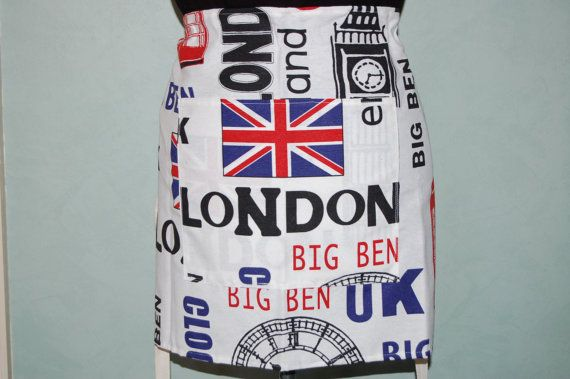 BISTRO Style CAFE APRON  London Paris or New by TheInevitableStore
