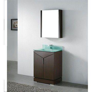 Madeli Savona 24 Bathroom Vanity With Glass Basin Walnut
