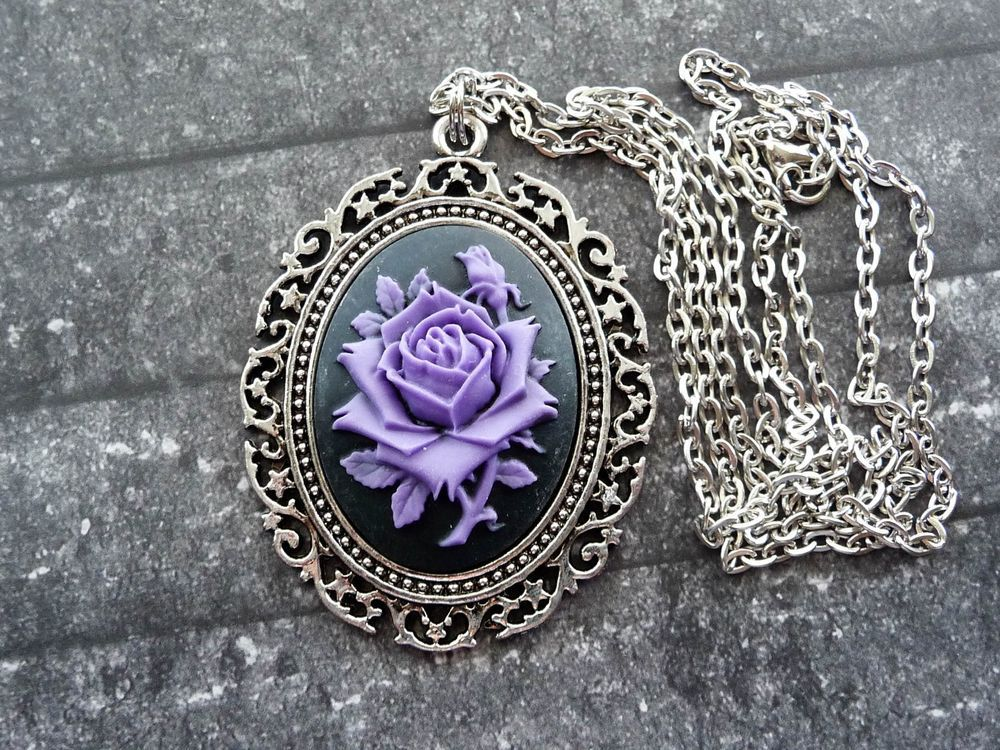 Gothic Victorian Halloween Vampire Rose Cameo Pendant Necklace - Handcrafted: 3-D victorian purple rose with a black background resin cameo EBAY Seller: ocstyles4u