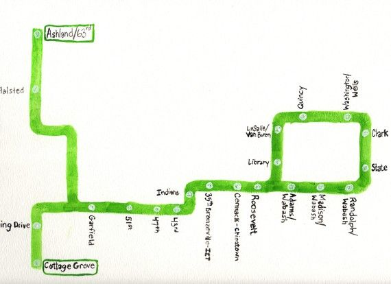 Chicago CTA Green Line ChicagoLine Maps and Globes Pinterest