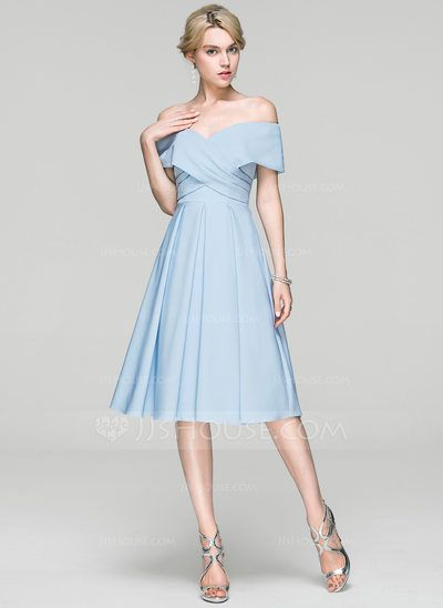 414bdc43ed A-Line Princess Off-the-Shoulder Knee-Length Ruffle Zipper Up Sleeves Short  Sleeves No Other Colors Spring Summer Fall General Plus Satin Height 5.7ft  ...