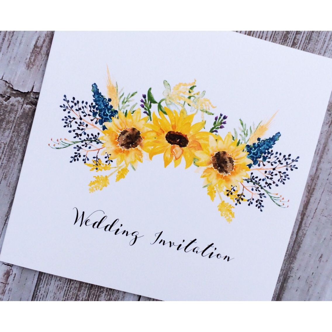 Beautiful sunflower wedding invitation. Perfect for a