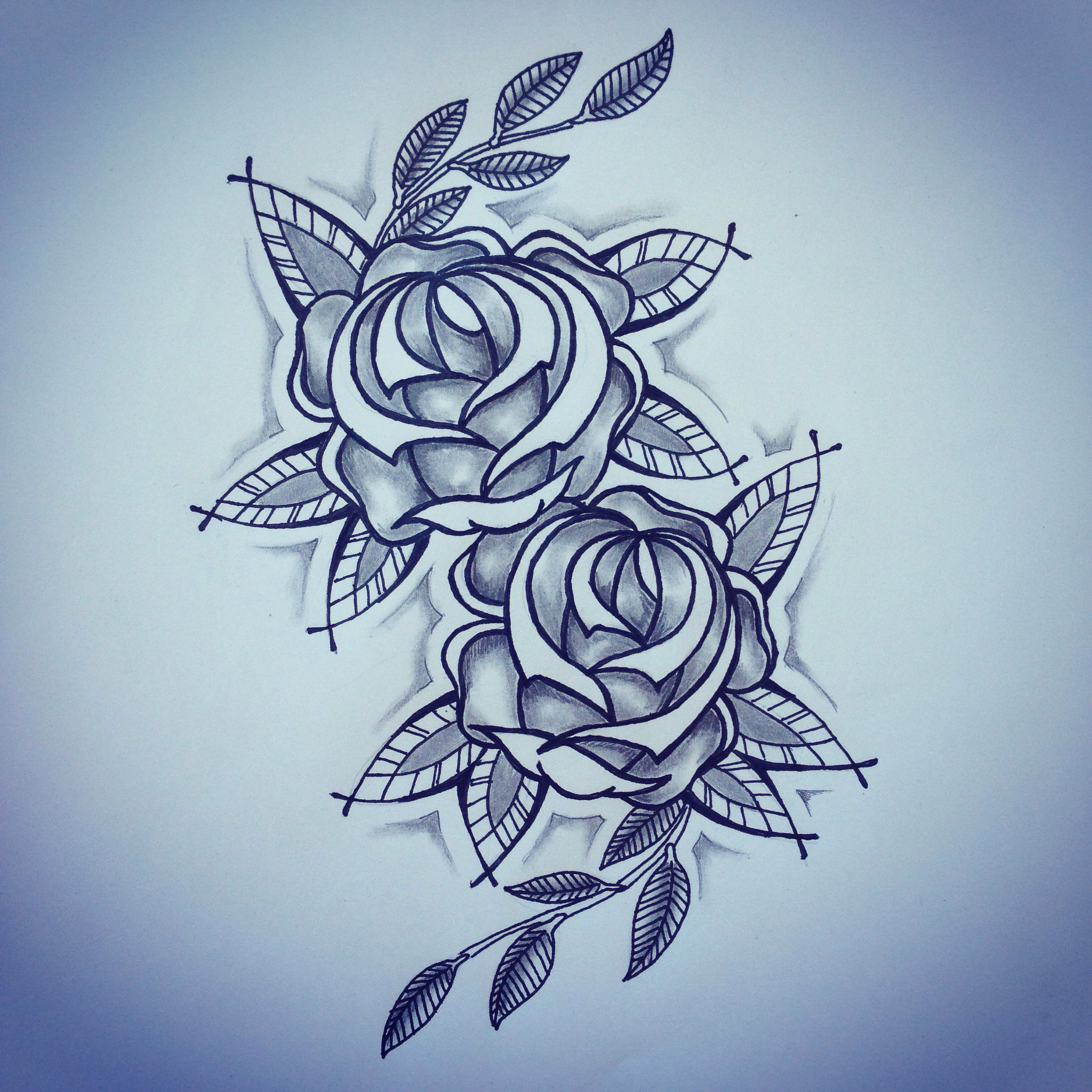 New traditional roses tattoo sketch by - Ranz | Pinterest ...