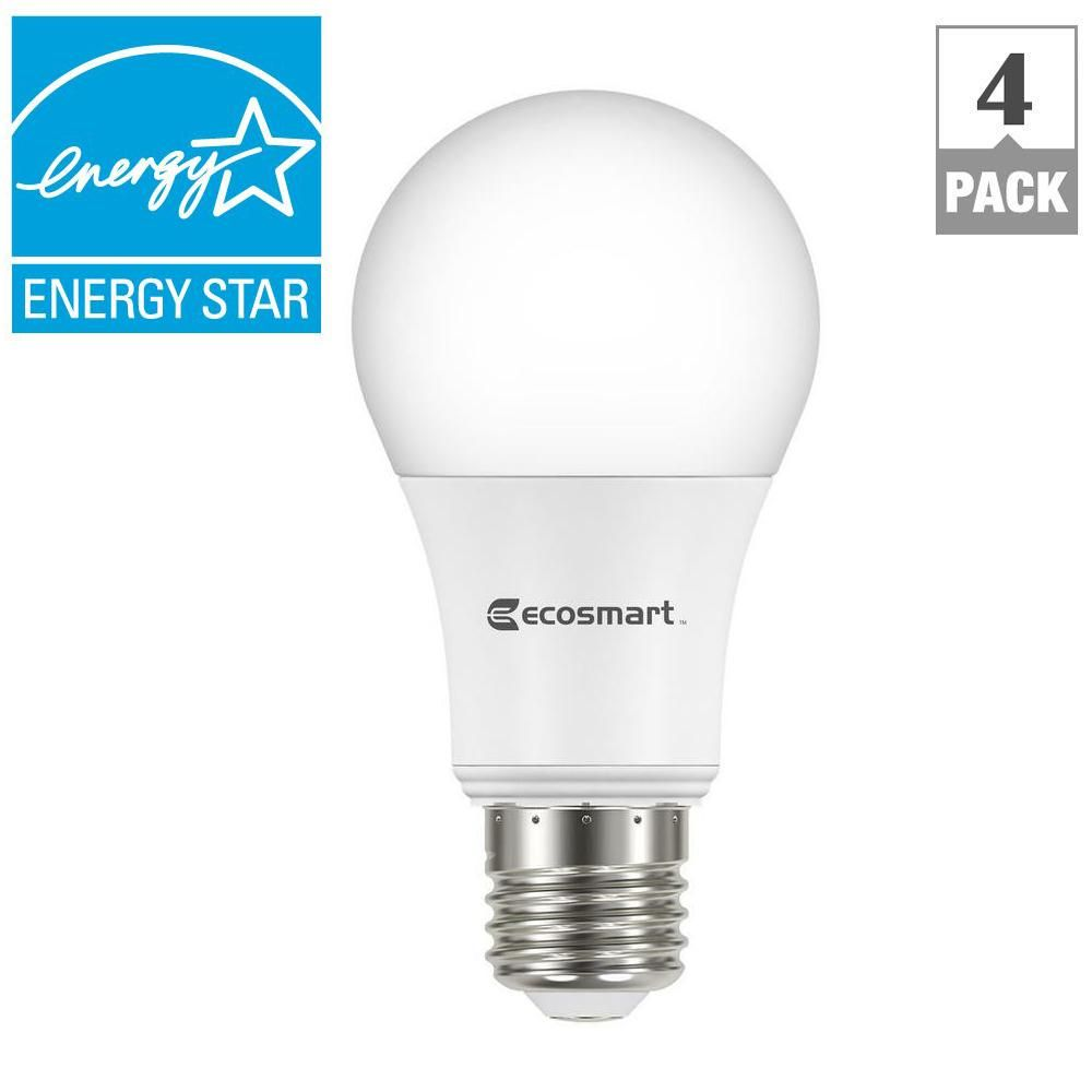 EcoSmart 60W Equivalent Bright White A19 ENERGY STAR Dimmable LED ...