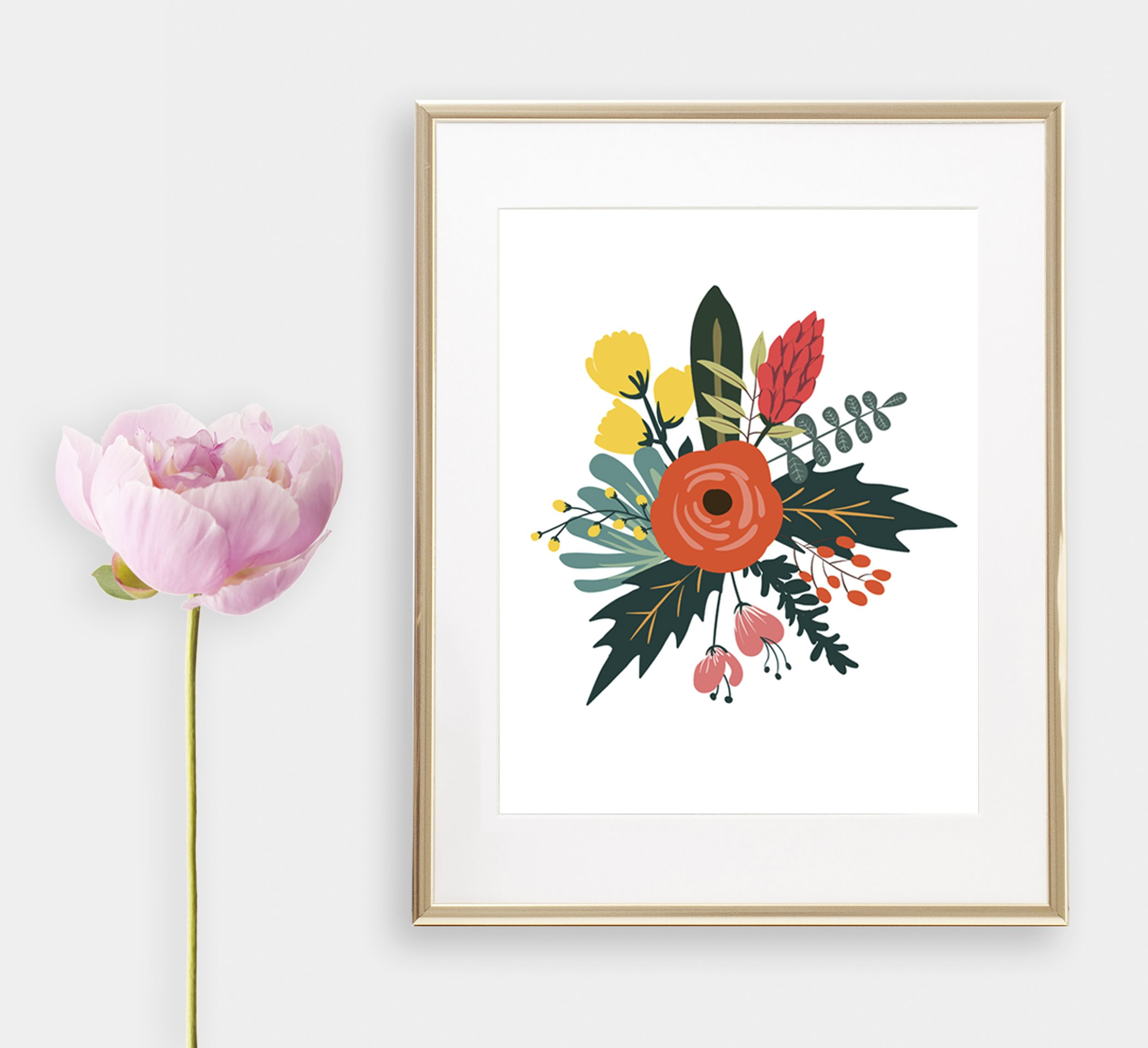 Floral wall artwork orange peony illustrated art print will be a bright accent of a