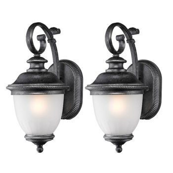 Costco Laurel Designs Outdoor Wall Light Fixture Weathered Iron Coach Lamp 2 Pack
