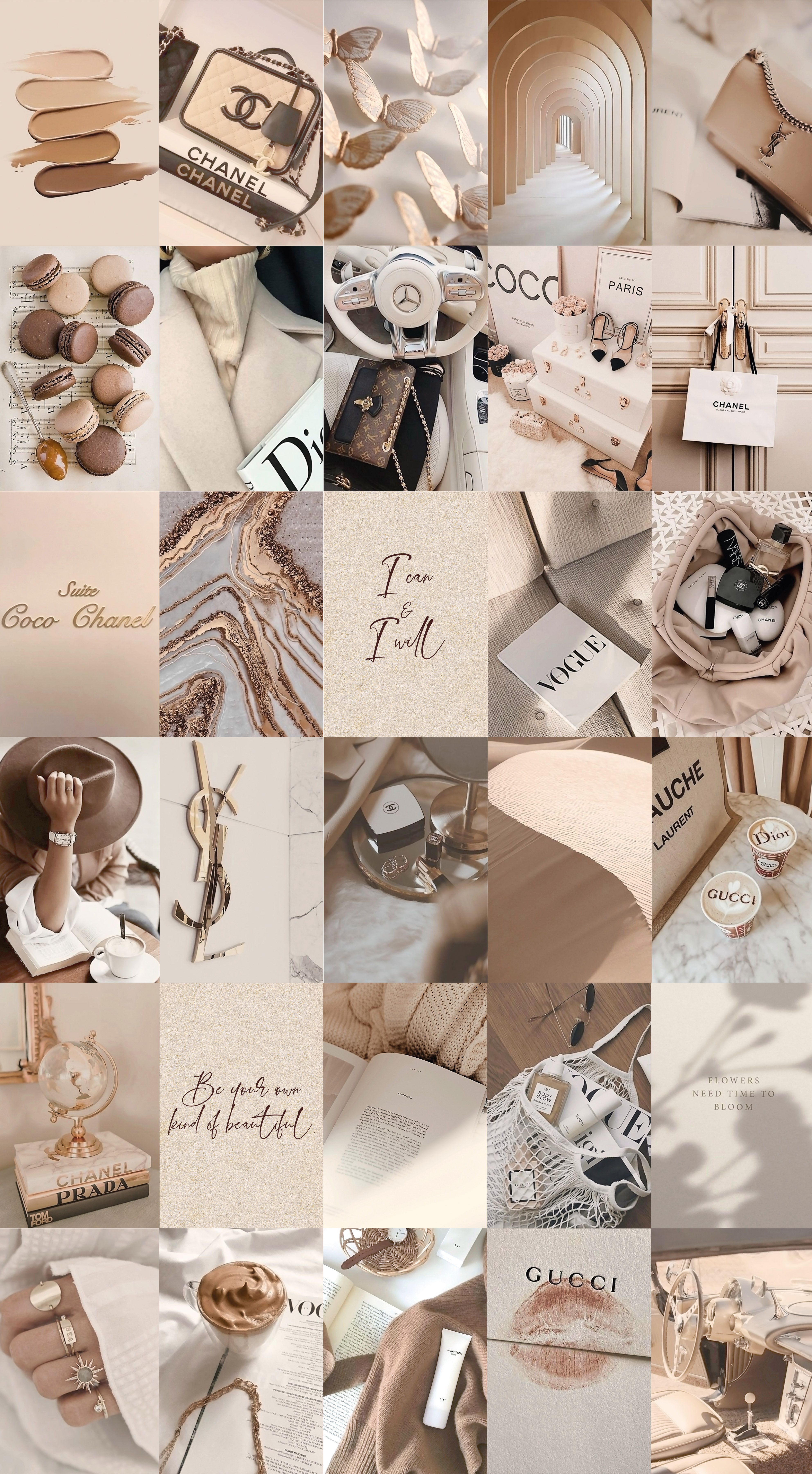 Spice up your room with this aesthetic beige glam wall collage kit!