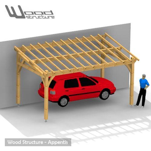 Appentis 1 Pan M - Charpente bois livrée en kit - Appentis Garage