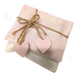 Bustina doppia Juta bicolore Confezionata Cuoricini rosa per Bimba