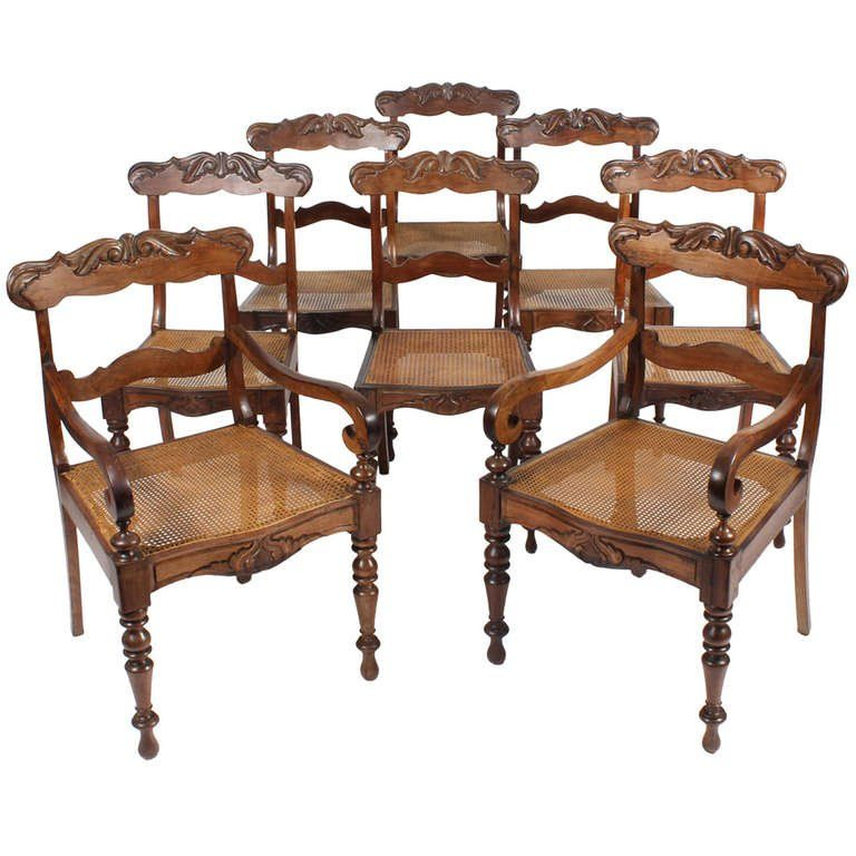 Set Of 19th Century Eight Anglo Indian Dining Chairs