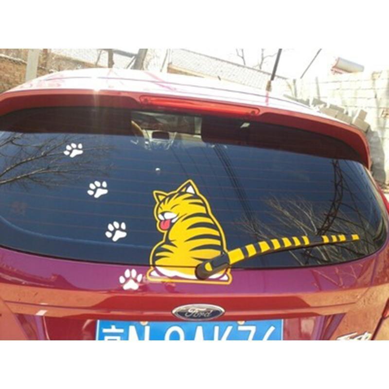 Dog wagging its tail wag windshield wiper rear Sticker Fun Window Decal Vinyl