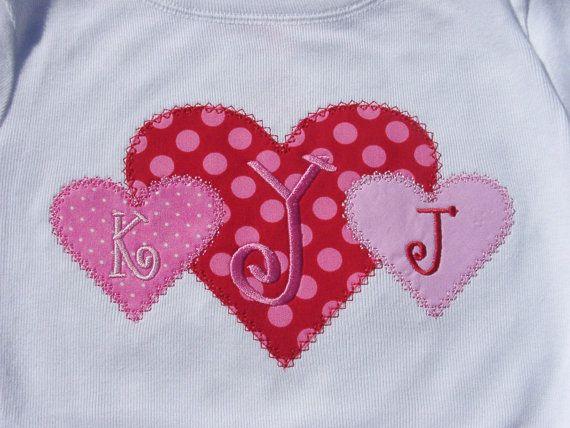 Heart trio applique design machine embroidery design instant