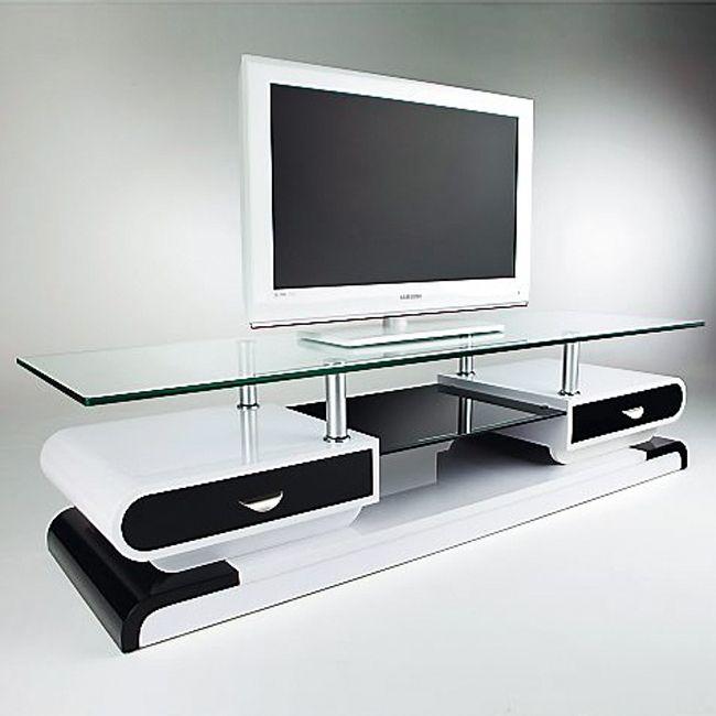 inspirant meuble tv noir et blanc laqué Décoration française