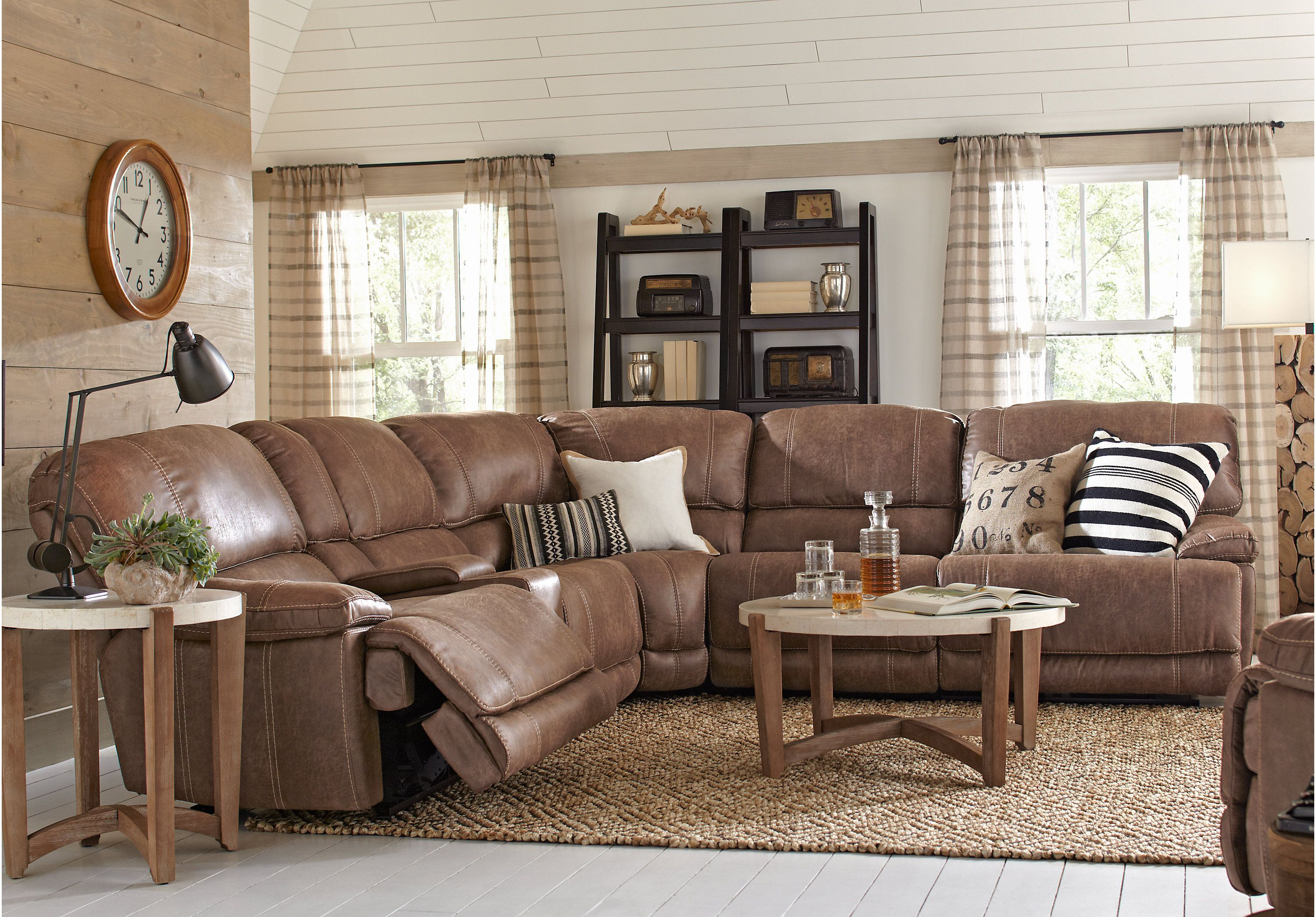 picture of Stetson Ridge Brown 6 Pc Power Reclining Sectional from