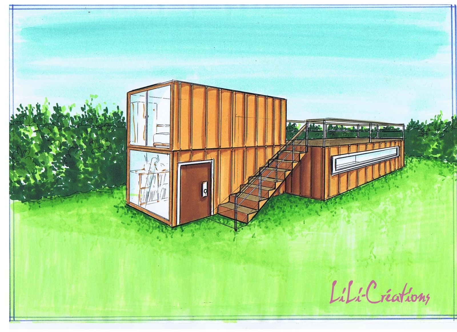 Hangar amnag habitation location immobilier du pre maison for Cout container