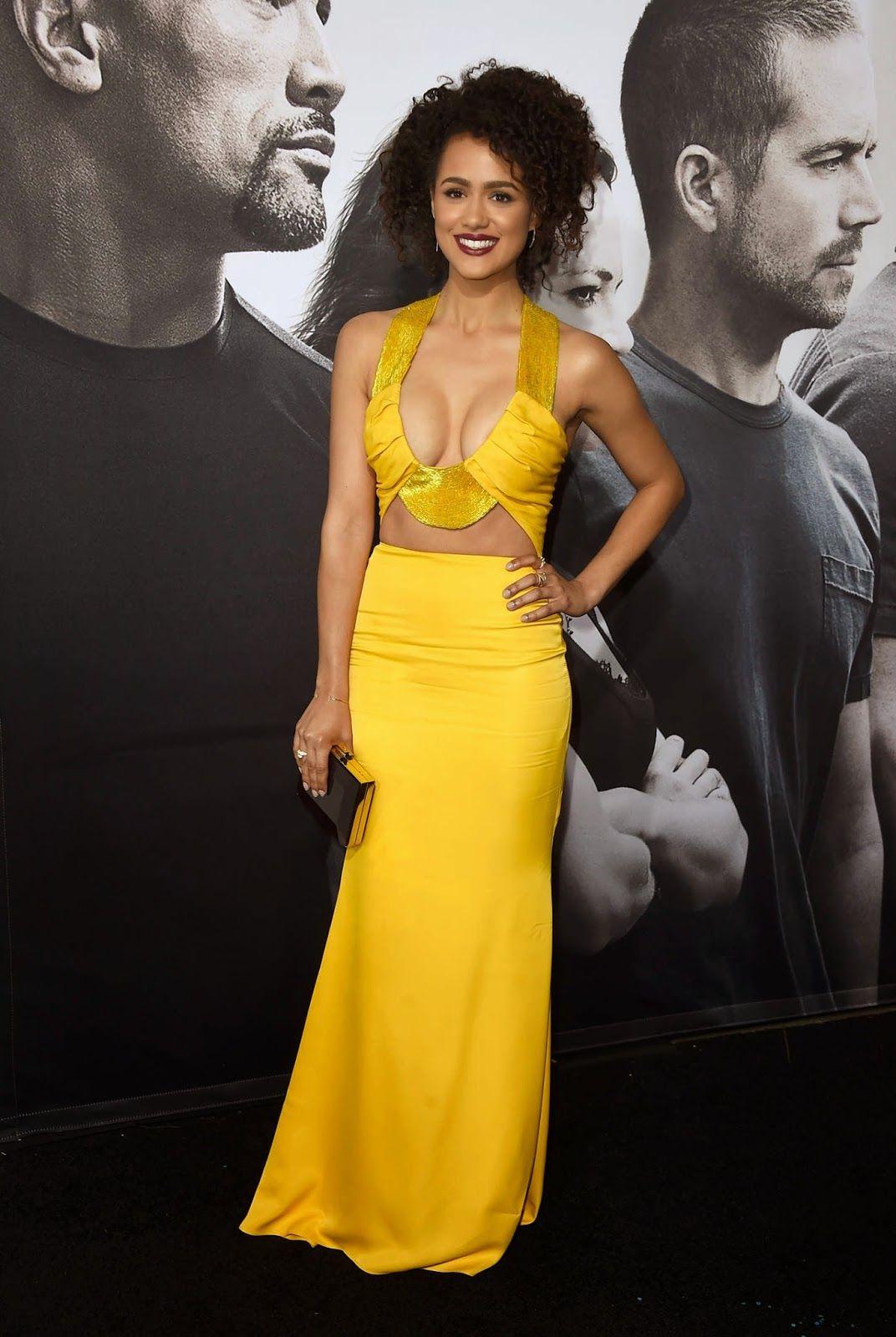Nathalie emmanuel bares cleavage at the ufurious u premiere in la