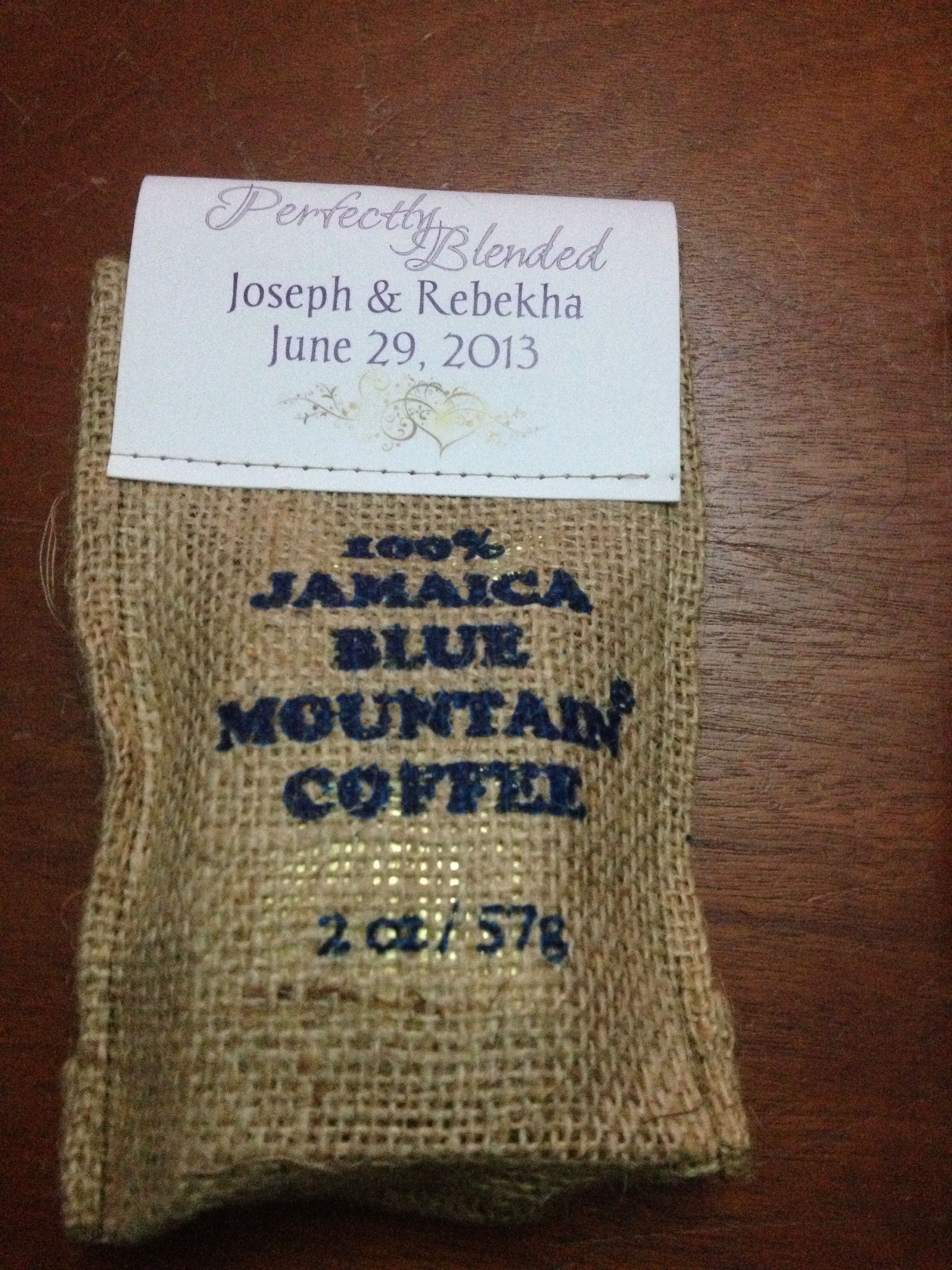 Personalized Jamaican Blue Mountain Coffee In Burlap Bag For Your Wedding Favor