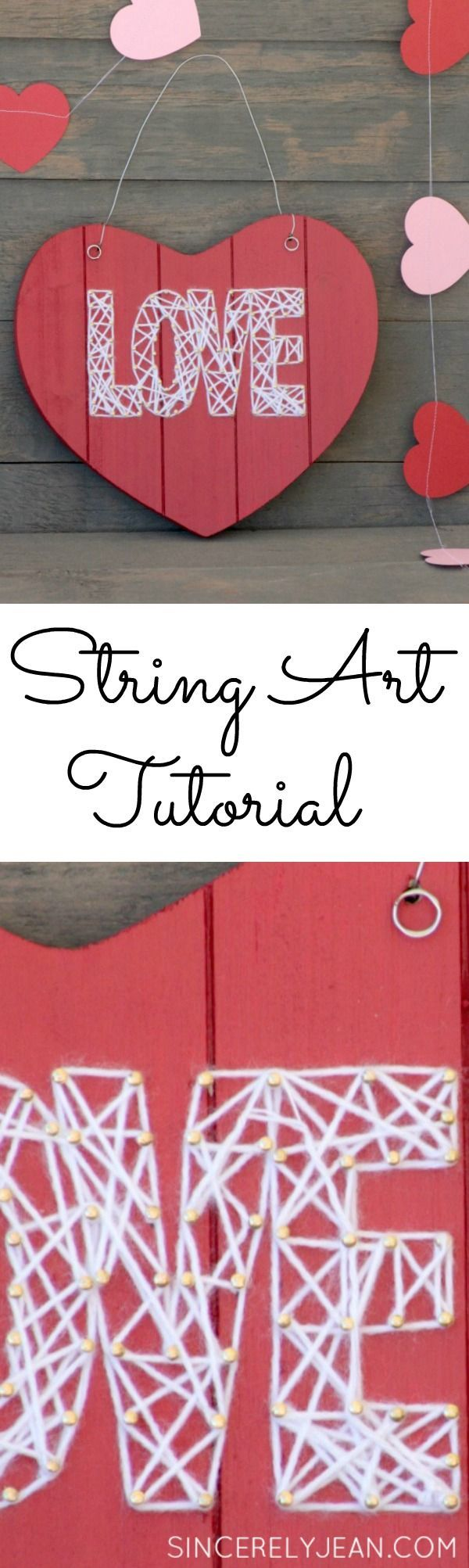 Love String Art Craft -perfect Valentine's Day craft for kids or adults! |www.sincerelyjean.com