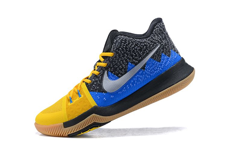 "Nike Kyrie 3 ""What The"" University Gold/Blue Glow-Black For Sale"