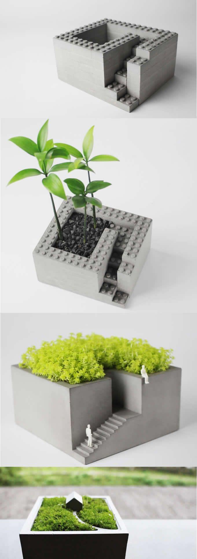 Concrete Architectural Square Succulent Planter Plant P*T 640 x 480