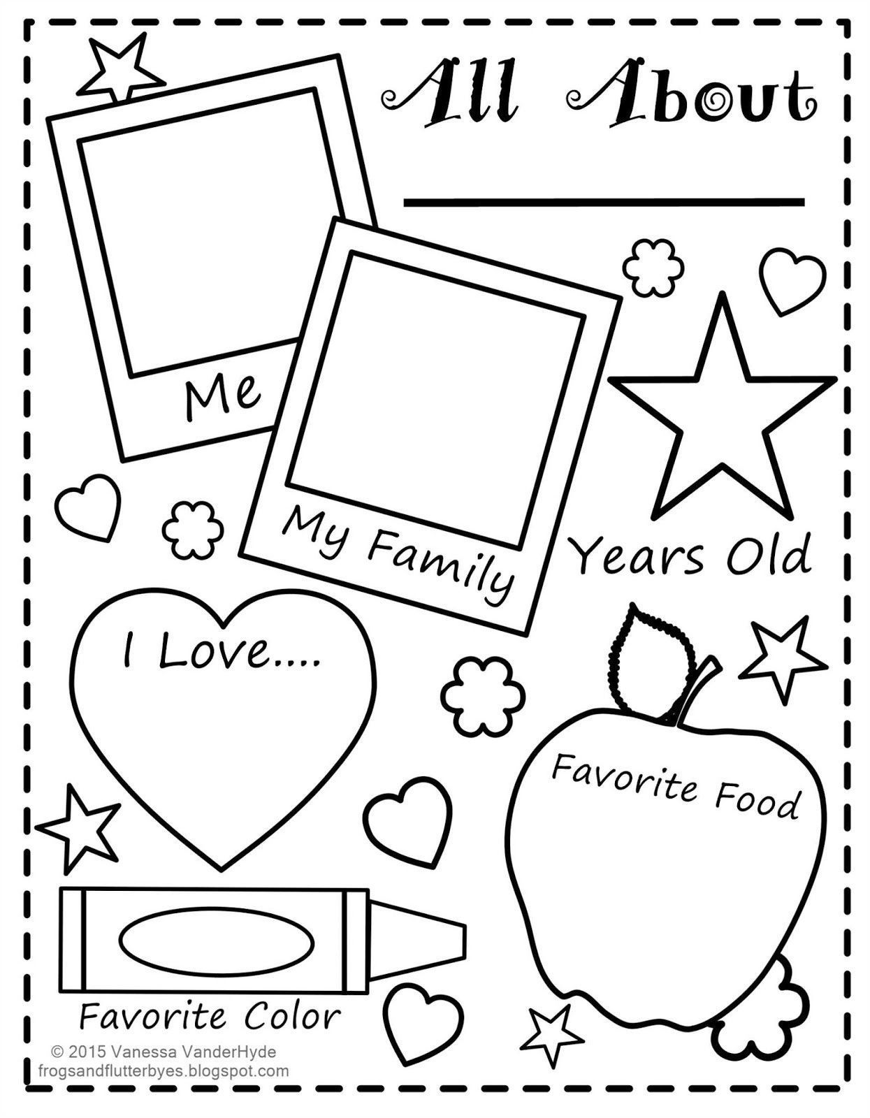 All About Me Template More The Frogs And The Flutterbyes