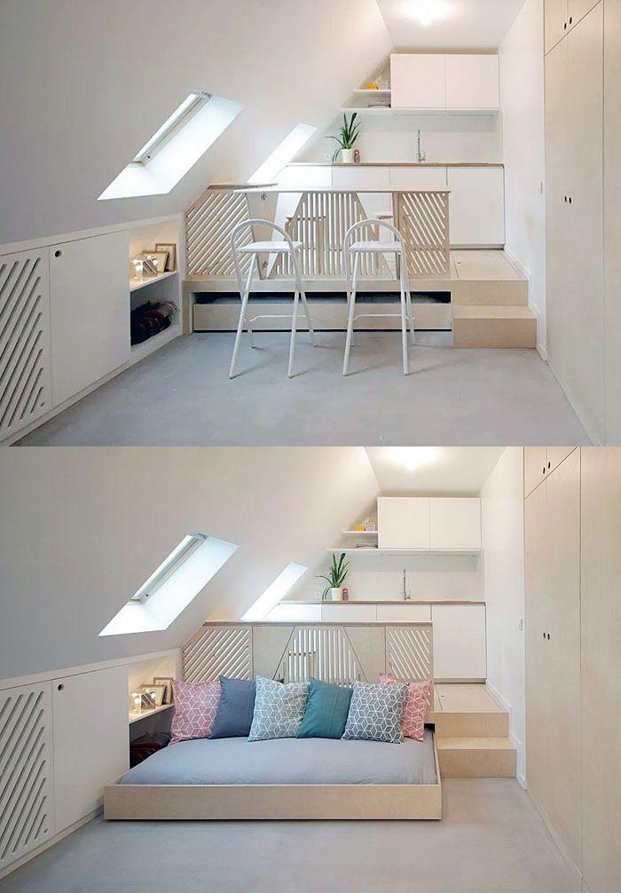 Pull-out bed under platform riser.   2018 Home Improvement ...