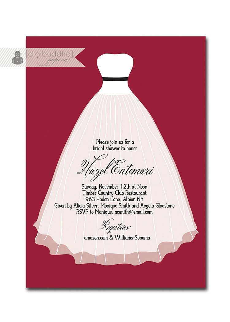 Modern Bridal Shower Invitation Classic By Digibuddhapaperie