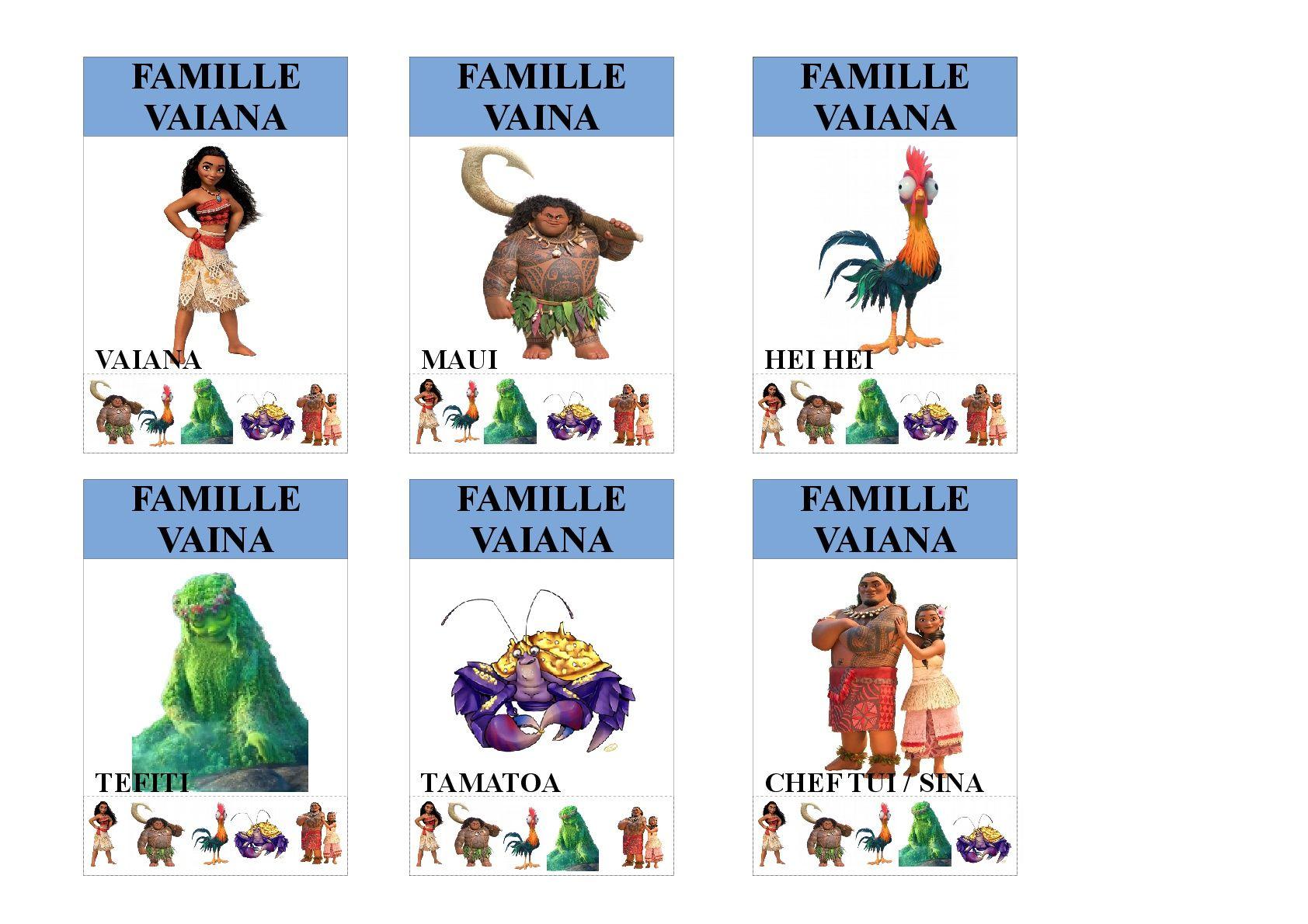 Famille Vaiana Jeu Des 7 Familles Utilisable Pour Les Plus Jeunes Vu Que Tous Les Membres Des Familles Sont Ind Jeux Des 7 Familles Jeux Disney Jeux En Famille