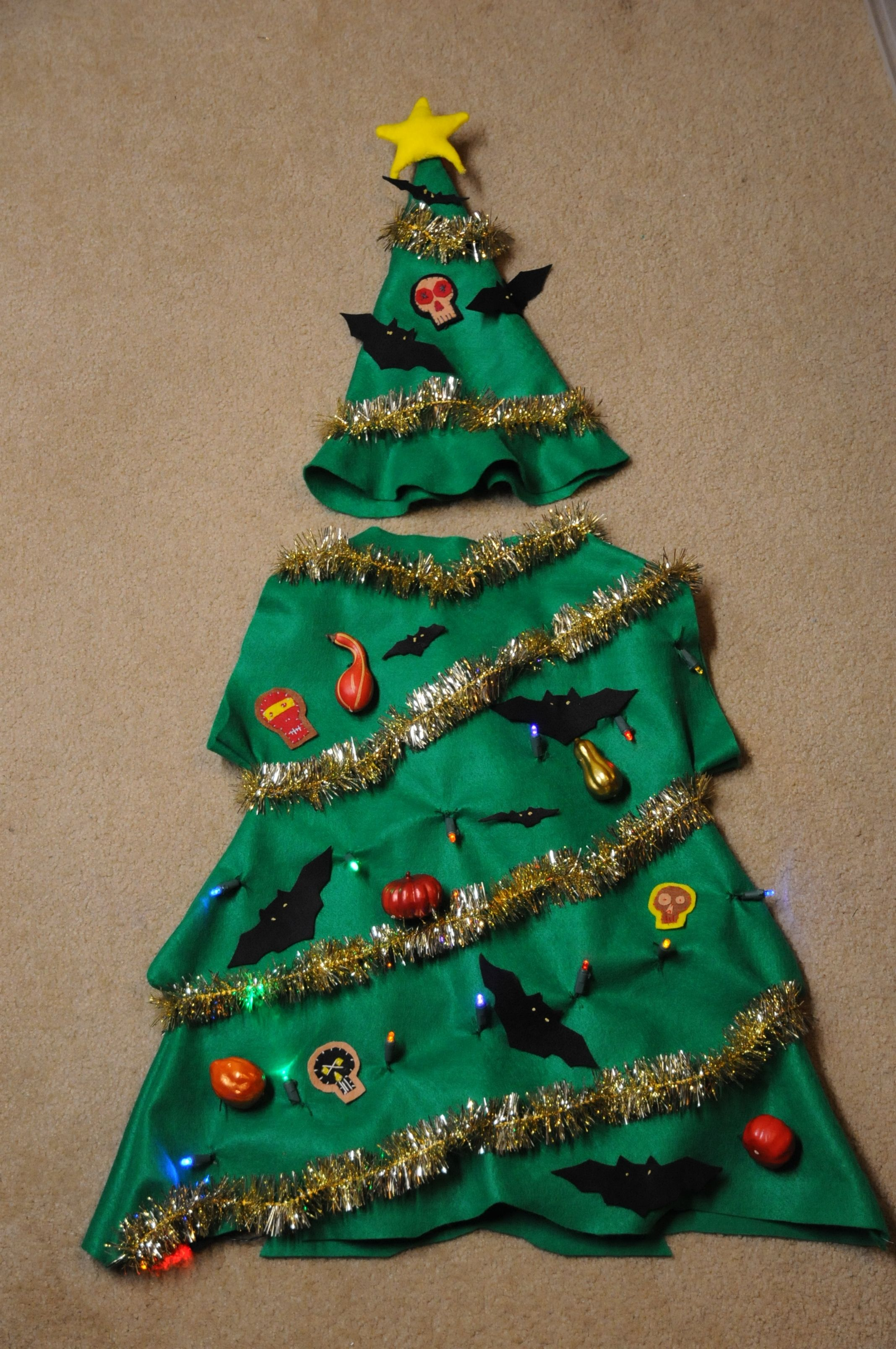 Christmas Tree Costume Diy Felt And Pom Pom Christmas Tree Costume Christmas Costumes Diy Diy Christmas Costumes
